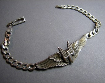 Aviator Wing Bracelet From the 1940's Sterling