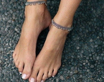 Charlotte - QTY 2: silver tribal anklets