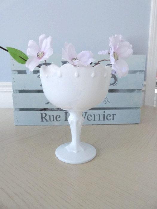 Vintage milk glass bowl with pedestal tear drop centerpiece