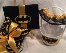 4 piece Batman wedding set Garter, Guest book, basket, and ring pillow