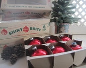 Box of Six Jumbo Red Shiny Brite Ornaments Vintage Shiny Ornaments In Red