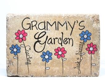 Grandmas Garden Stone with NAMES. 6x9 Personalized GRANDMA'S GARDEN.  Rustic tumbled Concrete. 6x9 Outdoor Decor, Personalized Name Stone