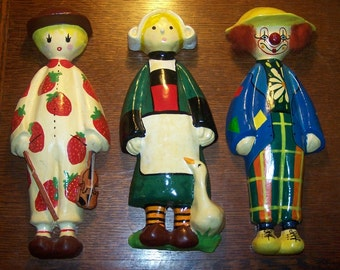 Bécassine and Friends. A hand made, hand painted trio of colourful French friends for wall hanging.
