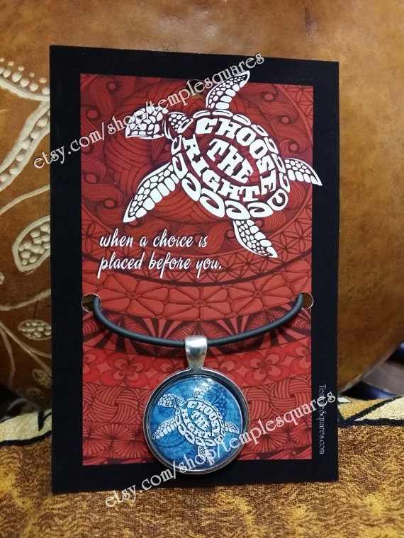 """Beautiful """"Choose The Right"""" LDS Pendant Necklaces Hawaiian Turtle Style"""