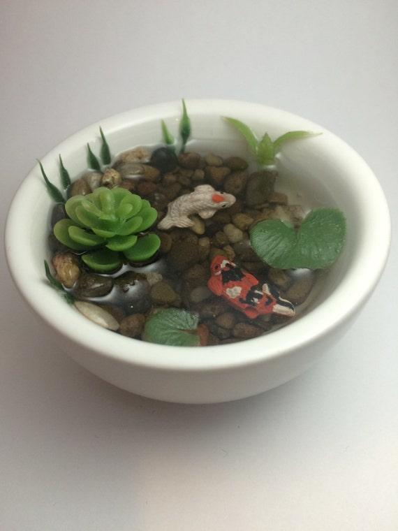 Resin koi fish pond in bright white ceramic bowl decorative for Resin koi fish