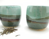 Ceramic Tea Bowls Handmade Ceramic Cups in Teal turquoise and brown