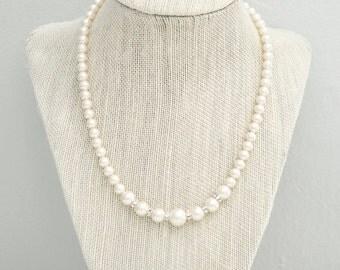 Pearl Wedding Necklace, Bridal Necklace, Pearl Rhinestone Necklace, Pearl Necklace, Wedding Necklace