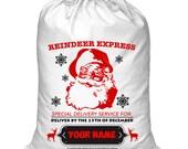 Personalized Santa Sack, Santa Present Bag, Christmas Bag, North Pole Bag, Kids Santa Bag, Made in USA, Choose from 6 Designs