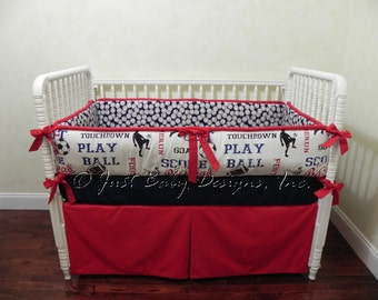 Baseball Crib Bedding Set Wesley- Baby Boy Bedding, Baseball Baby Bedding in Navy and Red