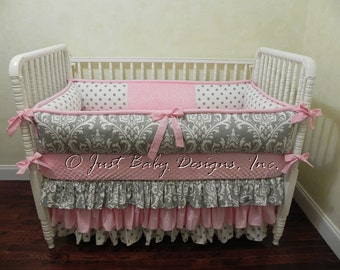 Girl Baby Bedding Set Lila - Baby Girl Bedding, Pink and Gray Baby Bedding, Ruffled Skirt