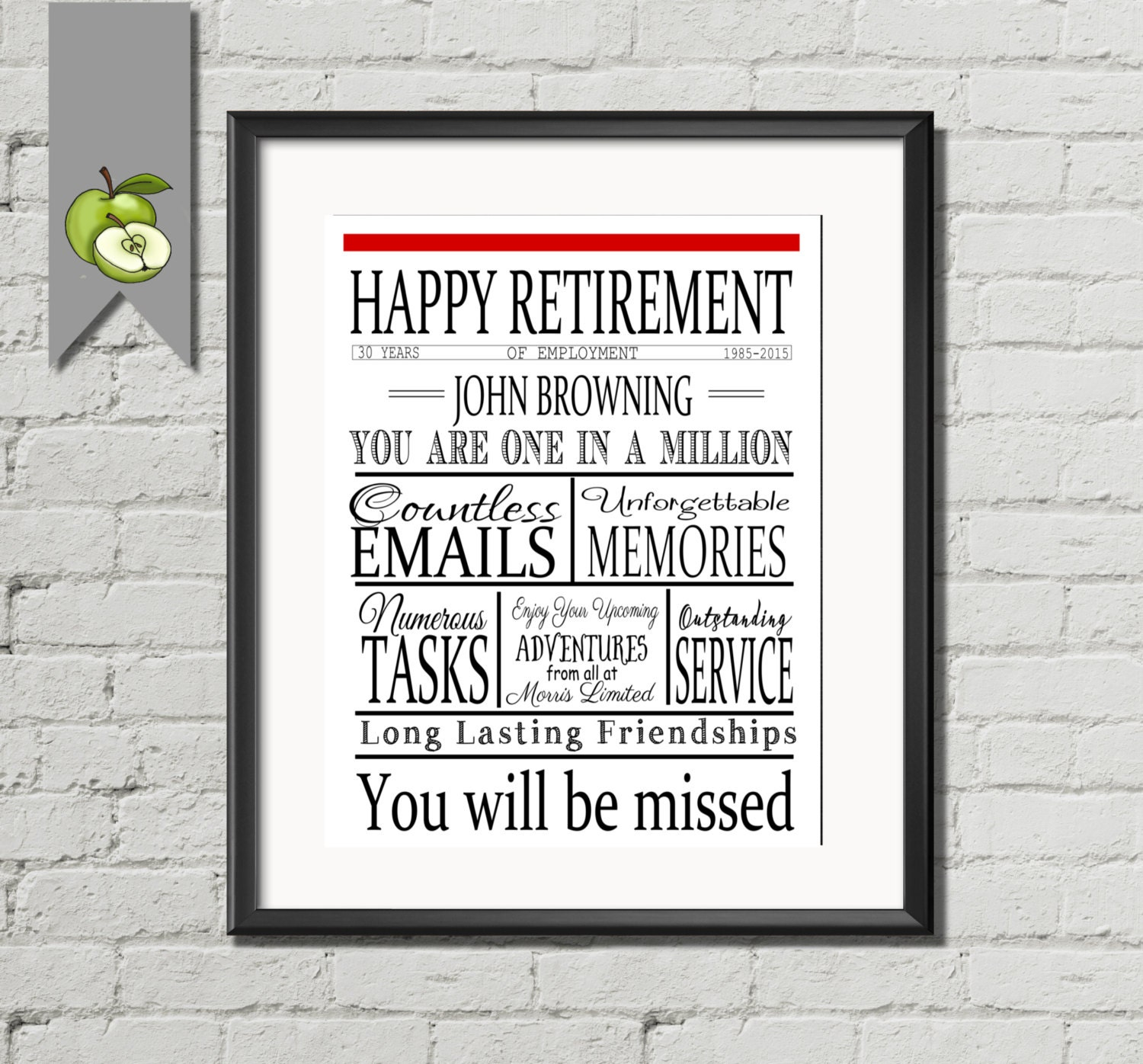 Retirement/leaving gift Newspaper style: by TheArtyApples on Etsy