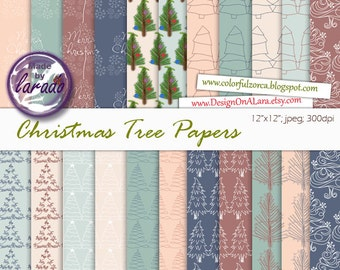 Christmas Tree Papers, Digital Christmas papers, Digital paperbackgrounds with christmas trees, christmas patterns, christmas backgrounds