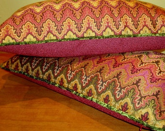 Vintage Berry Olive Black Bargello Boho Tapestry Lumbar Pillow w Olive Crushed Velvet Cord