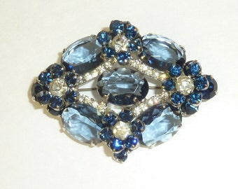 Vintage Verified JULIANA DeLizza and Elster Royal Blue Rhinestone Brooch Large Layered Designer Pin