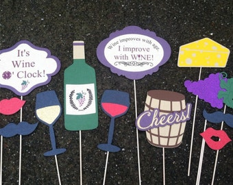12 GLITTER Wine Tasting Photo Props - Glitter & Shimmer - Heavy 110# cardstock - Photo Booth Props, Parties, Birthday's, Showers, Weddings