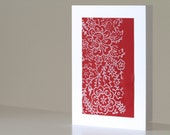 Block Print Christmas Note Card, Red and White Floral Pattern, Handmade Stationery