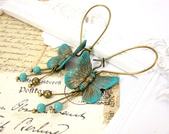Butterfly Earrings - Verdigris Earrings - Verdigris Patina Jewelry - Antique Bronze Teal Swarovski Dainty Dangle Earrings Verdigris Jewelry