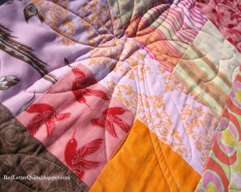 Comfort Quilt of Amy Butler Fabrics - for Baby, Lap, or Wheelchair - Warm Colors Orange & Pink
