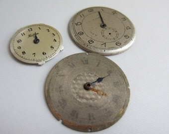 Set of 3 Vintage Watch Faces - with hands