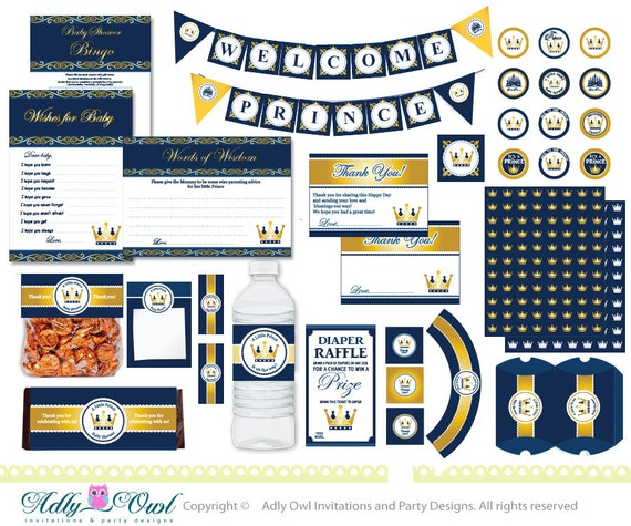 Royal Blue Gold Prince Baby Shower Extended By
