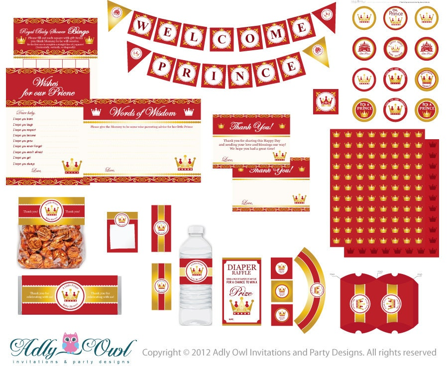 royal red gold prince baby shower extended printable party