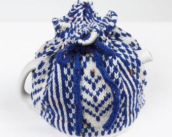 Knitted Teapot Cozy Blue and White Scandinavian Fair Isle Design Tea Cosie