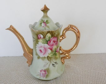 SALE,Lefton Coffee Pot, Heritage Rose, Lefton Collectibles, Lefton Green,  0365, 8.75 inches, shabby chic,  22kt  gold trim, mint condition,