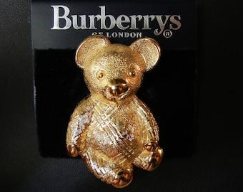 Vintage Burberry /Burberrys Of London Gold Tone Teddy Koala Bear Pin Brooch, Signed,Animal