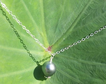 SALE-Sterling Silver Tahitian Pearl Necklace