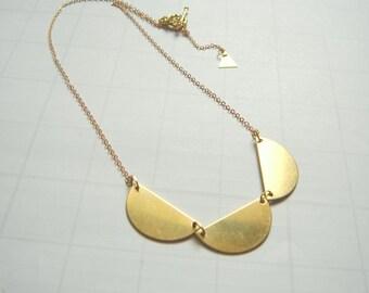Brass  Necklace, Geometric Jewelry