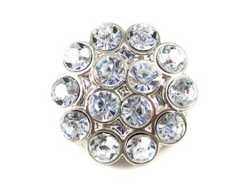 Clear - Set of 3 Acrylic 25mm Rhinestone Cluster Buttons - AB-128
