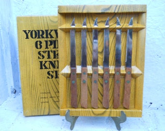 Steak Knives Box of Six, Yorkville Knife Set In Original Box, New Old Stock Retro & Nice!