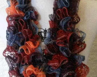 Orange, purple and blue ruffle scarf, knit scarf, womens scarf