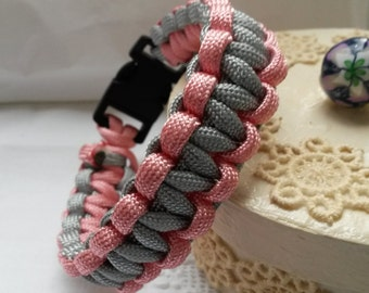 Pink and  grey paracord bracelet