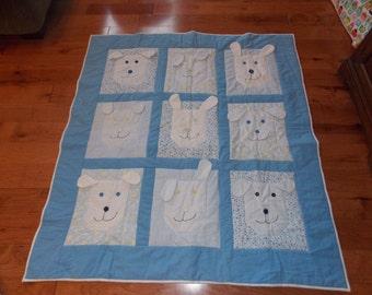 Baby Blue Puppy Quilt