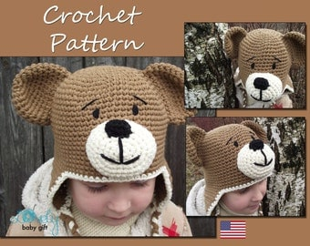Crochet Earflap Hat Pattern, Teddy Bear Hat Crochet Pattern, Crochet Animal Hat, CP-304