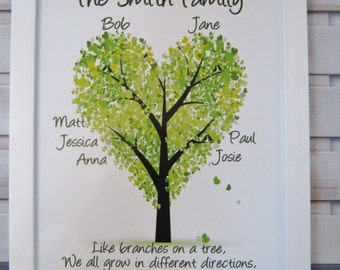 Personalised Traditional Family Tree Print Unique Gift Wedding Anniversary Birthday