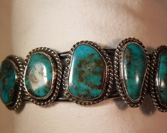 VintageCuff Bracelet Native American BisbeeTurquoise  Five Settings Sterling Silver