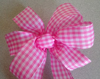 Pink and white check gingham Bow rustic country baby shower, picnic, wedding decor for any season gift bows