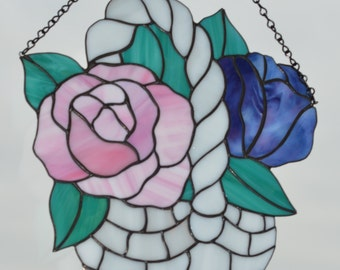 Stained Glass Panel Basket of Flowers