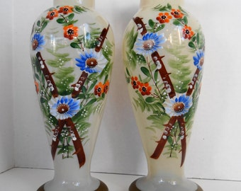 Vintage Odd/Unique  Pair of Beautiful Ivory Pearl Glass Hand Painted  Vases with Gold Gilds Trims