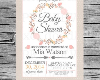 Floral Baby Shower Invitation Card - Personalized - Floral Wreath