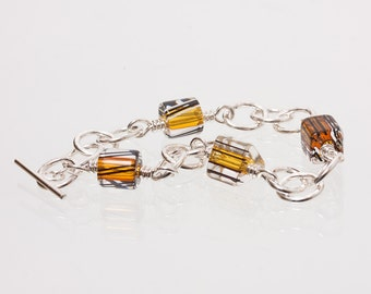 Sterling-Silver Hammered Chain Bracelet with David Christensen Amber Cane Beads