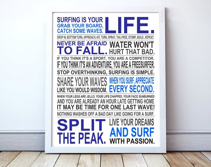 Surfing Is Your Life - Custom Manifesto Poster Print