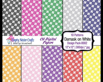 Damask Digital Paper pack, set0002, rainbow colors, Commercial use ok