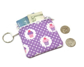 Cupcake coin purse, coin pouch, small coin purse, coin purse keychain, zippered pouch, change purse, lavender polka dots, girls coin purse