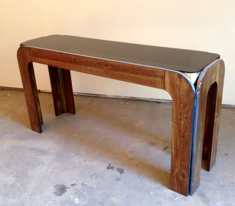 Unique vintage retro mid century smoked glass and chrome - Table haute console ...