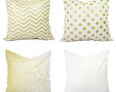 Metallic Gold Pillow Covers - Gold and White Pillow Covers - Decorative Pillows - Chevron Pillows - Metallic Gold Pillows - Holiday Decor