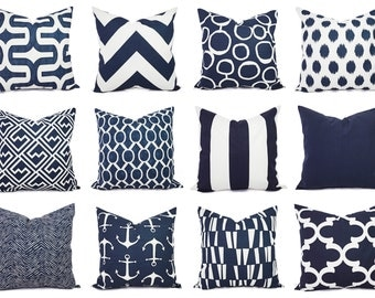 One Navy and White Pillow Covers - 16 x 16 Inch Navy Blue Throw Pillow Cover - Decorative Pillow Cushion Cover Navy Blue Pillows