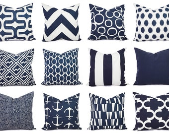 Navy and White Pillow Cover Navy Blue Throw Pillow Cover